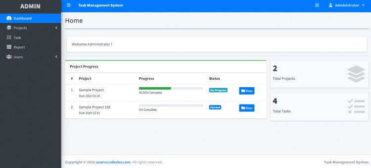 Task Management System using PHP/MySQLi with Source Code