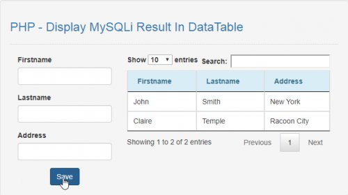 How To Display MySQLi Result In DataTable